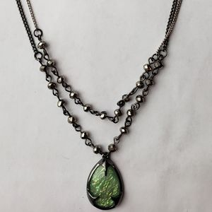 Simple green resin necklace